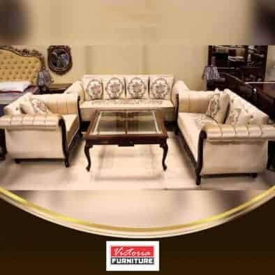 Antique Wooden Edge Sofa Set with Table