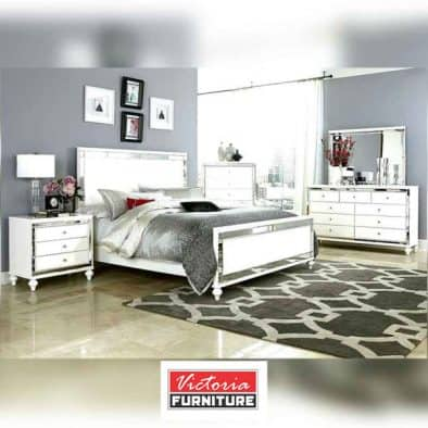 Crystal White Wooden Bed Set